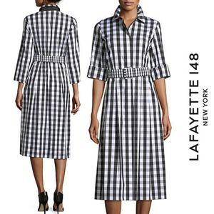 Lafayette 148 New York Eleni Belmont Black & White Check Shirting Dress w/Belt M